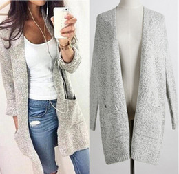 Wholesale lace ponchos - Women Cardigan Sweater Lady Long Knitted Plus Size Coat Casual Loose Poncho Women Sweaters Knits