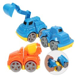 Wholesale Excavator Children Toy - Children Cartoon Engineering Truck Boys and Girls Blocks Vehicles Kids Assembled Toy Car Playmobile Cementing Truck Grab Excavator Bulldozer
