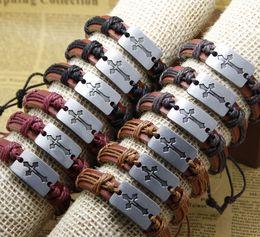 Wholesale Cheap Braiding Prices - Fashion cross Handmade Cheap Price Wholesale Leather Braided Bracelets and Bangles mens bracelets women jewelry