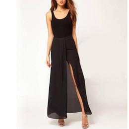 Wholesale Maxi Skirt Side Split - Sexy Boho Retro Women Chiffon Skirt Open Side Split Solid Long Maxi Skirt