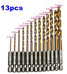 twist drill bits Promo Codes - 13 pcs lot HSS High Speed Steel Titanium Coated Drill Bit Set 1 4 Hex Shank 1.5-6.5mm