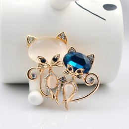 Wholesale Formal Fashion Jewelry - Cute Multi-Color Cat Brooches Fashion Accessories Diamonds Lady Formal Occasion Brooch Jewelry New Year Gift Free Shipping WWL