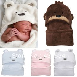 Wholesale Hotels Bear - 2014 Hot Free shipping coral fleece newborn kids baby blanket boy&girl toddler cartoon bear sleeping bag autumn and winter