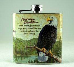 Wholesale Stainless Steel Whisky Bottle - Bald Eagle Mini Portable Stainless Steel Hip Flask 7 oz Whisky Whiskey Drinkware Wisky Alcohol Pocket Flasks Bottle Personalized