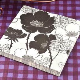 Wholesale Bar Sheet - 40 napkins table paper napkins tissue flower bird black and white vintage printed decoupage home bar hotel wedding party festive decorative