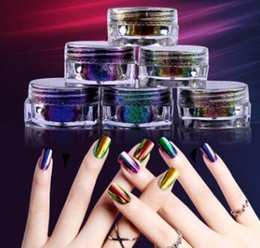 Wholesale Nail Art 3d Gel - 6 Pcs Set 3D Shiny Glitter Laser Powder For Nail Art Gel Polish Shimmer Dust Super Changing Mirror Glitters