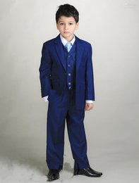 Wholesale boys royal blue vest - custom made Boys Kids Formal Occasion Pinstripe Two buttons Straight pockets Wedding Party Suit Tuxedo (Jacket+Pants+vest)