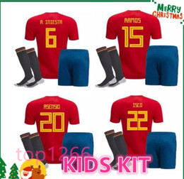 red spain uniform Coupons - 2018 Spain kids kit Jersey ISCO PIQUE SERGIO RAMOS A. INIESTA M. ASENSIO THIAGO MORATA soccer child boy shirt Football uniforms sales Spain