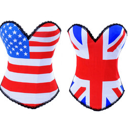 Wholesale Sexy Women Costumes Goth - sexy Cotton Costume Goth Punk Rock Hook USA UK Flag Boned Corset Bustier Free shipping TOP S-2XL Lingerie