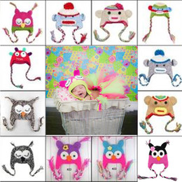 Wholesale Knit Winter Hats Baby - Children Hat New Owl EarFlap Crochet Hat Baby Kids Wool Weaving Hat Hand-woven Baby Hat Knitting Wool Animal prints Hat