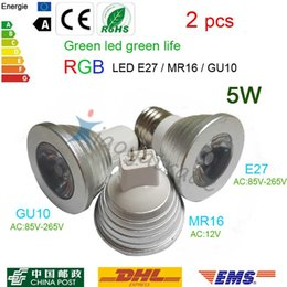 Wholesale Changing 12v Led Bulb - 2pcs Hot Energy Saving 5W E27 GU10 MR16 RGB LED Bulb Lamp light Color changing + IR Remote mini order NEW