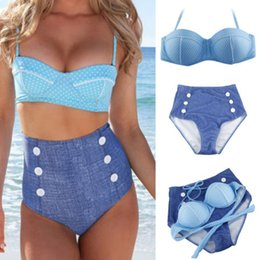 Wholesale Ribbon Jeans - Retro Cute Dot Jeans Swimsuit High Waist Design Swimwear Halter Vintage Buttons Pin Up High Waist 2015 Women Bikini Set SW209