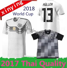 Wholesale Soccer Jersey Germany - 2018 Germany world cup soccer jersey Away Home 2017 18 OZIL MULLER GOTZE HUMMELS KROOS BOATENG REUS Maillot de foot top football shirts