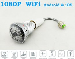 Wholesale Cmos Bulb Cctv Security Cameras - WIFI HD 1080P H.264 Bulb CCTV Hidden Camera DVR Lamp Security IR Camera Motion Detect Home Security With Night Vision for PC Android iOS