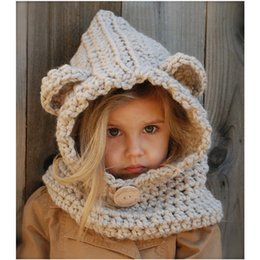 Wholesale Crochet Designs For Kids - 2016 New Design Fox Ear Winter Windproof Baby Hats And Scarf Set For Kids Boys Girls Shapka Caps For Children Free Shipping