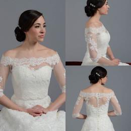 Wholesale Cheap Bridal Jackets - 2015 New Arrival Off Shoulder 3 4 Long Sleeve Lace White Ivory Bolero Jacket Cheap Cap Wrap Shrug For Wedding Bridal Evening Party PJ012