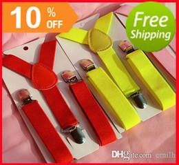 Wholesale Polyester Car Flags - Suspenders BOYS GIRLS Elastic Braces Slim Suspender 37 colors mix Y-back Suspenders gallus