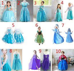 Wholesale Europeans Summer Dresses - 10 Design Girls Frozen Lace Dress  girls dresses children lovely Princess Elsa & Anna Lace dress B001