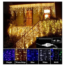 Wholesale Led Moons Stars - Curtain Icicle Led String light Christmas Light 4m Droop 0.4-0.6m Outdoor Decoration 220V 110V led holiday light New Year Garden Wedding