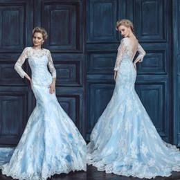 Vestido de noiva applique gelo on-line-Ice Blue Sereia Vestidos de Casamento Elegante Jóia Pescoço Mangas Compridas Tribunal Trem Organza Vestidos de Noiva Applique Lace Império Vestidos de Casamento