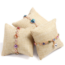 Wholesale Wholesale Bracelet Stand - Jute Pillow Display Vintage Bracelet Bangle Watch Jewelry Stand Flax Holder