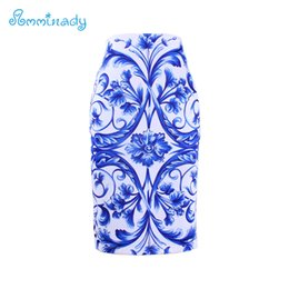 Wholesale Lady S Bottom Skirt - Wholesale- Women brand slim skirts National Blue and white porcelain print bodycon lady midi saia female faldas mujer girls pencil bottoms
