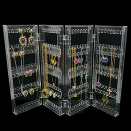 Wholesale Clear Plastic Studs - Foldable 4 Panel Clear Acrylic Makeup Jewelry Organizer Holder 256 Holes Earring Stud Necklace Bracelet Case Cabinet Stand Shelf Clear