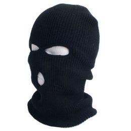Wholesale Knit Snow Hat - 2015 New Full Ski Mask Three 3 Hole Balaclava Knit Hat Winter Snow Beanie Stretch Cap Free Shipping