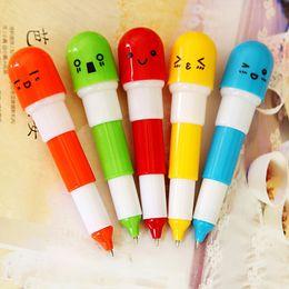Wholesale Pen Pills - Cute Vitamin Ball pen Pill Shape Retractable Ball Point Pen Rollerball Pens Creative Stationery Children's Gifts Office supplies 100pcs