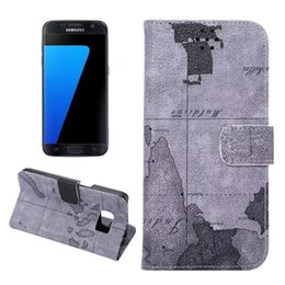 Wholesale Map Wallet Flip Case - Flip Wallet PU Map leather Cover Case for Samsung Galaxy S7 edge Leather Case with Card Holder wallet case