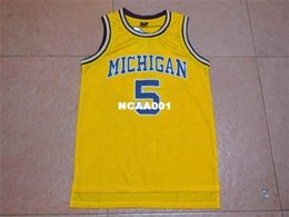 basketball authentisches trikot Rabatt Nr. 5 Michigan State Jalen Rose Gelbes Trikot, Männer Rev30 genähtes College-Trikot, authentisches Trikot-Netz
