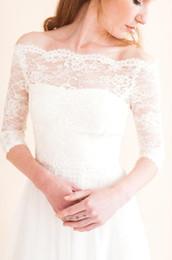 Wholesale off shoulder lace wedding bolero - 3 4 Long Sleeve Lace Jacket For Wedding Dresses Off The Shoulder Lace Applique Jacket For Bridal Custom Made Winter Jackets
