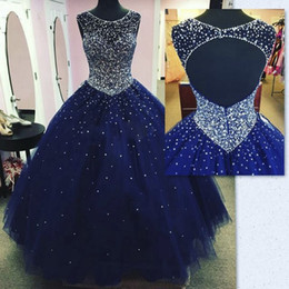 trombeta escovada Desconto Modest Sparkly Dark Blue Prom Vestido Quinceanera Vestidos Masquerade 2019 Sheer Neck Open Back Bling Cristal Pageant Vestidos Para Doce 16