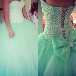 Wholesale Mint Quinceanera - Vintage Mint Green Tulle Quinceanera Ball Gowns Dresses Sweetheart Sequins Beaded Lace Up Floor Length Elegant Prom Dresses BO7609