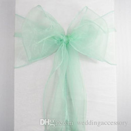 Wholesale Wedding Table Fabric Samples - Hot Sale 50 Mint Green Aqua Organza Crystal Chair Sash Table Sample Fabric Roll wedding for Bow Gift Party -SASH