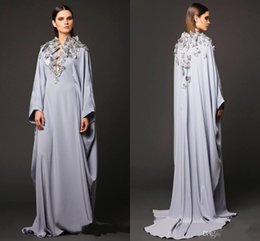Wholesale Vintage Butterfly Picture - Arabic Dresses Party Evening Gowns V Neck Butterfly Appliques Long Sleeve Prom Dresses Muslin Dubai Abaya Mother Of Bride Celebrity Gowns