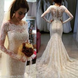 Wholesale French Gowns - Long Sleeve Mermaid Wedding Dresses 2016 French Lace Vestido De Novia Beads Covered Buttons Ivory Court Train Summer Bridal Gowns BA1097