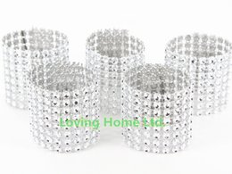 "Wholesale Sashes Rings - Wholesale-Silver 50 Pcs 1.5"" 8 Bow Napkin Rings Bow Covers Diamond Rhinestone Wedding Chair Sashes Bows Holder"
