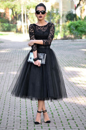 Wholesale Adult Yellow Tulle Skirt - 2015 Custom Made Tea Length Tulle Skirts A-line Black Skirts Adult Free Size Women Clothing 3 Layers Knee Length Skirts