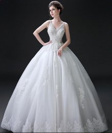 Wholesale Pure White Crystal Wedding Dresses - 2016 customize v-neck lace applique crystal beads hollow fishbone floor length wedding dresses pure charming sexy