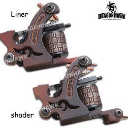 Wholesale Iron Tattoo Frames - 2 pcs Tattoo Machine Gun Liner&Shader Steel Frame Copper Coils WQ4449&4449-1