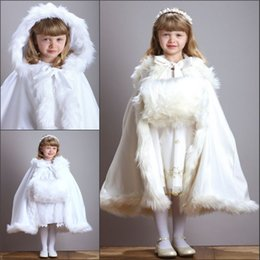 Wholesale Orange Hooded Dress - White Ivory Fur Hooded Flower Girls Dresses Winter Warm Cloaks Cape Cap 2016 Christmas Girls Fur Shawl Wrap Jacket Boleros Wedding Dresses