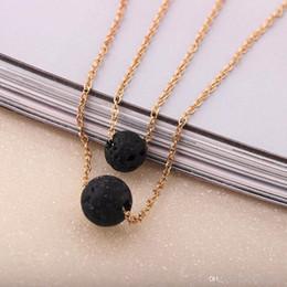 Wholesale Oil Deck - Fashion Black Lava Stone Necklaces Vintage Multilayer double-deck Chain Essential Oil Diffuser Rock Beads Pendant Necklace Women Jewelry