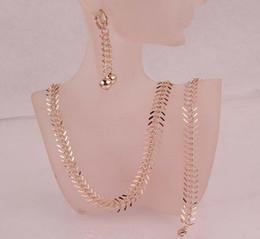 Wholesale Rose Golden Bracelet - Hot Sell Pretty Women New Trendy Jewelry Sets 14k Rose Gold Plated Chic Centipede Shape Pendant Necklace Bracelet Earrings