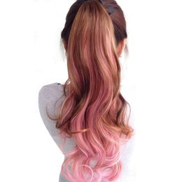 Wholesale Wavy Ponytail Hair Extensions - Long Wavy Ponytail Hairpiece Heat Resistant Synthetic Hair Tail Clip In Hair Extension Long Ponytail Clip Fake Hair