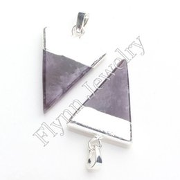 Wholesale Mystic Opal - 2015 Hot Sale Silver Plated Opal Crystal Natural Stone Mystic Triangle Pyramid Reiki Pendant Charms Healthy Amulet Jewelry 10pcs