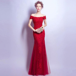 Wholesale Silk Wrap Robe - OFF SHOULDER free shipping lace-up Elegant beautiful red lace flowers mermaid Wedding Dresses vestidos de noiva robe de mariage bridal dress