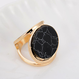 Wholesale Gold Coin Rings For Women - DHL Free Shipping Wholesale Double Layer 18k Gold Brand Designer Black White Textured Round Coin Marble Stone Rings For Women Party