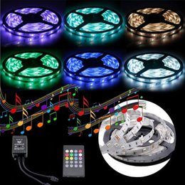 Wholesale Music Sensor Lights - Waterproof RGB LED Flexible Light Music RGB Led Strips 5M 5050SMD RGB Strips 12V Music Sensor Strip Light 20 keys Remote With Adapter