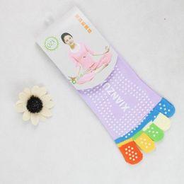 Wholesale Leg Massaging Socks - Wholesale-Splendid Summer Style Sheer Womens 5-Toe Colorful Gym Non Slip Massage Toe Socks Full Grip Leg Warmers Calcetines Boot Sock